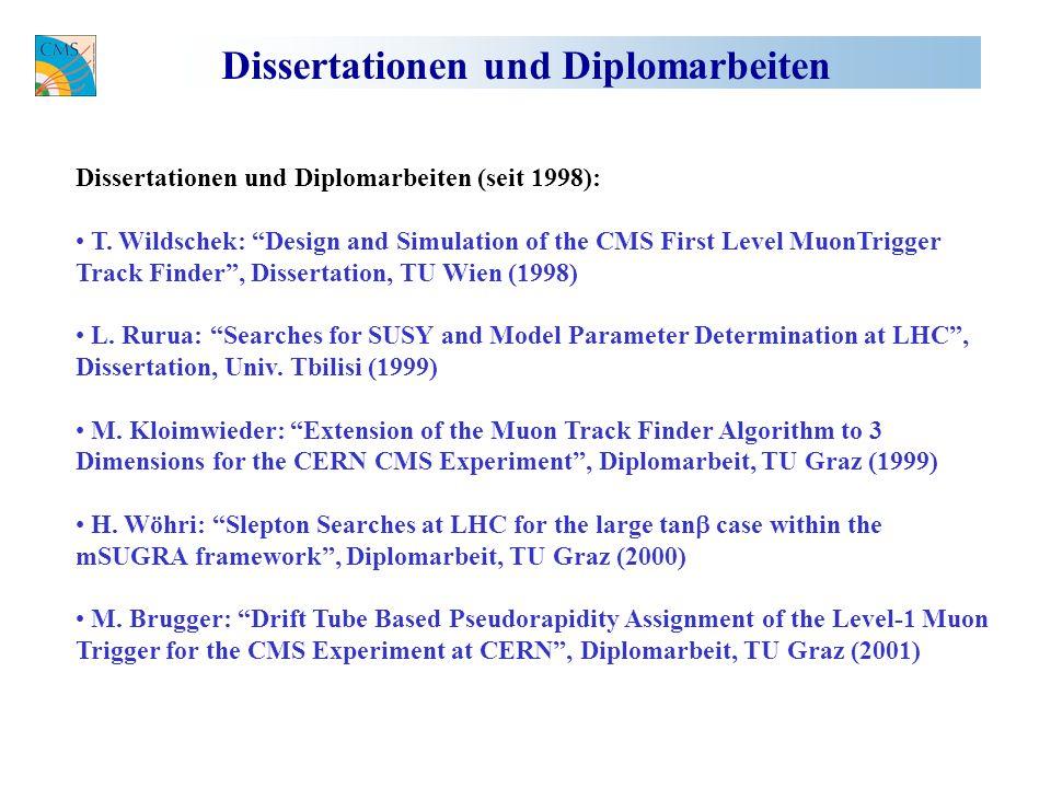 Dissertationen und Diplomarbeiten Dissertationen und Diplomarbeiten (seit 1998): T.