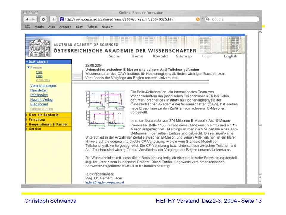 Christoph SchwandaHEPHY Vorstand, Dez 2-3, 2004 - Seite 13