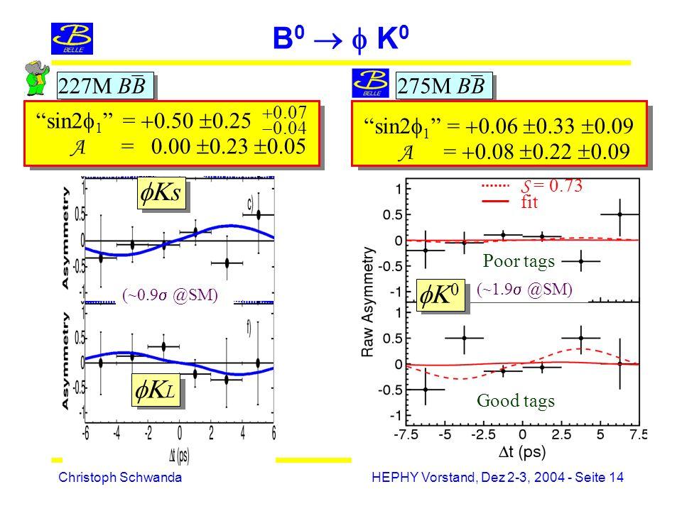 Christoph SchwandaHEPHY Vorstand, Dez 2-3, 2004 - Seite 14 B 0 K 0 Good tags Poor tags S = 0.73 fit _ 227M BB _ 275M BB s L sin2 1 = 0.50 0.25 A = 0.00 0.23 0.05 0.07 0.04 0 sin2 1 = 0.06 0.33 0.09 A = 0.08 0.22 0.09 (~1.9 @SM) (~0.9 @SM)