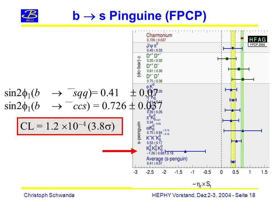 Christoph SchwandaHEPHY Vorstand, Dez 2-3, 2004 - Seite 18 CL = 1.2 10 4 (3.8 ) sin2 1 (b sqq)= 0.41 0.07 sin2 1 (b ccs) = 0.726 0.037 b s Pinguine (FPCP)