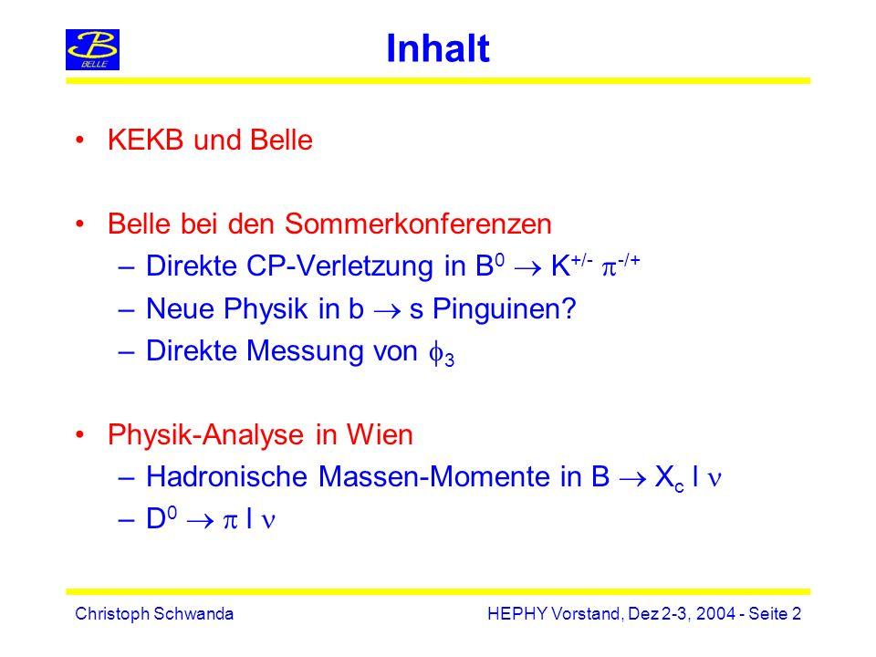 Christoph SchwandaHEPHY Vorstand, Dez 2-3, 2004 - Seite 23 V cb inklusiv rate shape |V cb | m b,m c m 2 G,m 2 b W Nicht-perturbative Parameter in HQE können durch hadronische oder leptonische Momente bestimmt werden
