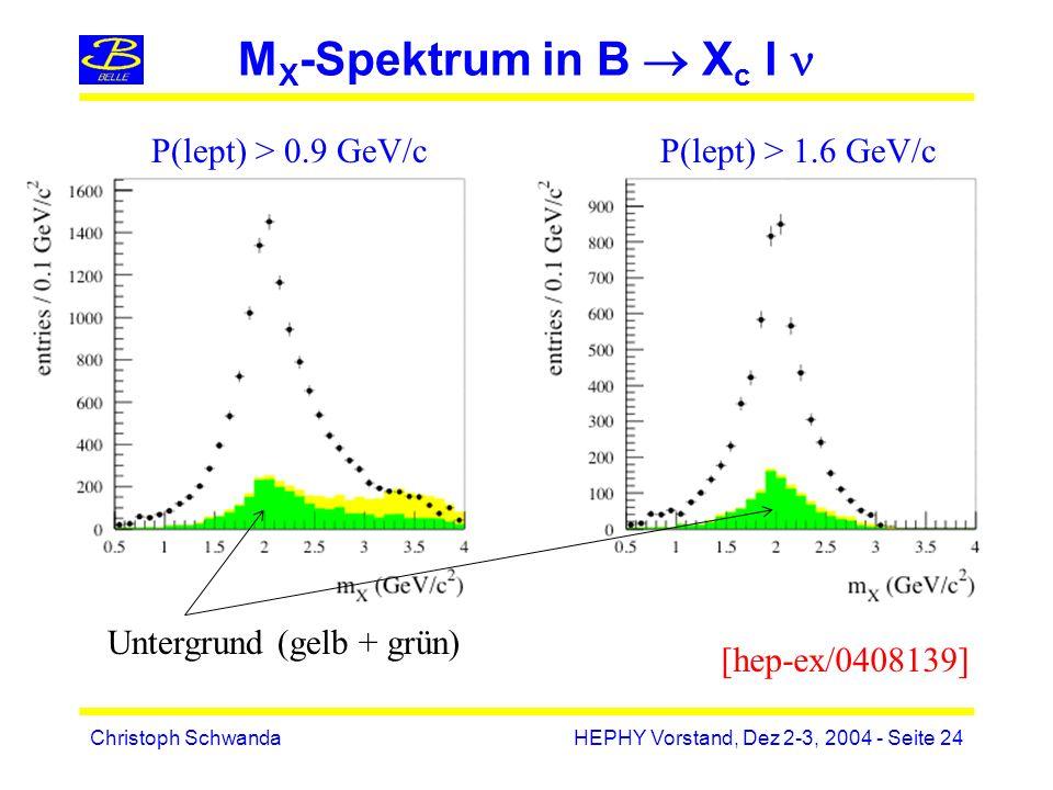 Christoph SchwandaHEPHY Vorstand, Dez 2-3, 2004 - Seite 24 M X -Spektrum in B X c l P(lept) > 0.9 GeV/cP(lept) > 1.6 GeV/c [hep-ex/0408139] Untergrund (gelb + grün)