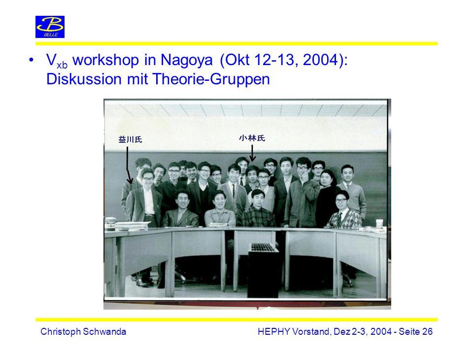 Christoph SchwandaHEPHY Vorstand, Dez 2-3, 2004 - Seite 26 V xb workshop in Nagoya (Okt 12-13, 2004): Diskussion mit Theorie-Gruppen
