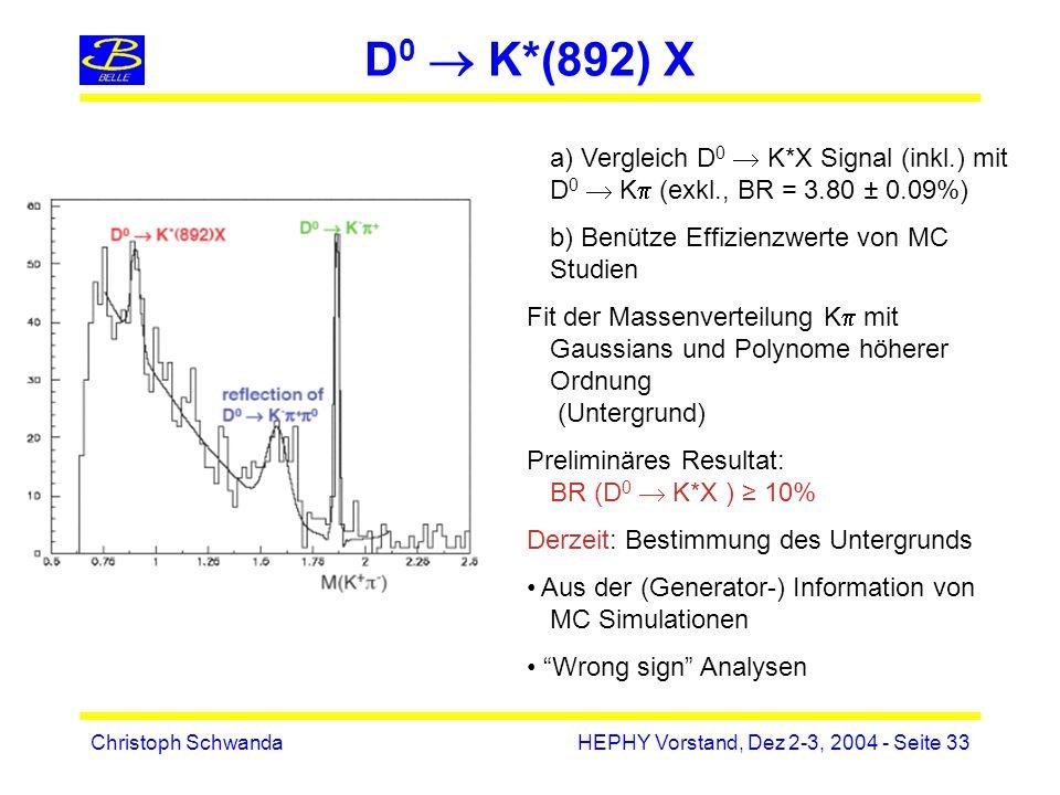 Christoph SchwandaHEPHY Vorstand, Dez 2-3, 2004 - Seite 33 D 0 K*(892) X a) Vergleich D 0 K*X Signal (inkl.) mit D 0 K (exkl., BR = 3.80 ± 0.09%) b) Benütze Effizienzwerte von MC Studien Fit der Massenverteilung K mit Gaussians und Polynome höherer Ordnung (Untergrund) Preliminäres Resultat: BR (D 0 K*X ) 10% Derzeit: Bestimmung des Untergrunds Aus der (Generator-) Information von MC Simulationen Wrong sign Analysen
