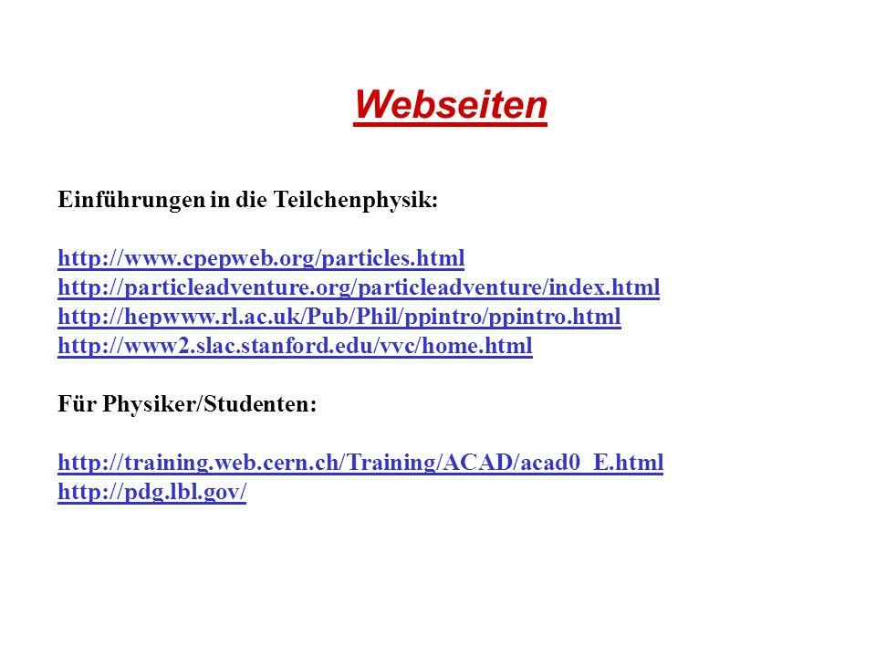 Webseiten Einführungen in die Teilchenphysik: http://www.cpepweb.org/particles.html http://particleadventure.org/particleadventure/index.html http://h