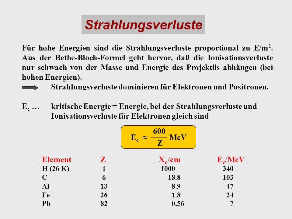 Strahlungsverluste Für hohe Energien sind die Strahlungsverluste proportional zu E/m 2. Aus der Bethe-Bloch-Formel geht hervor, daß die Ionisationsver