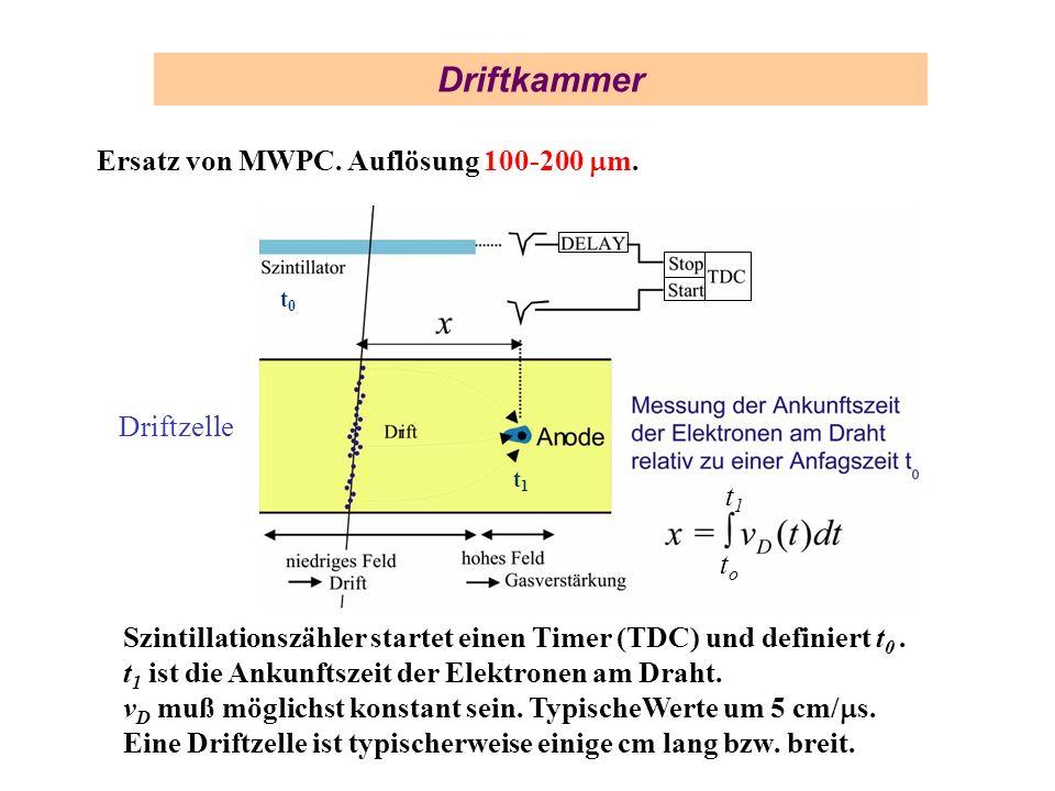 Driftkammer Ersatz von MWPC. Auflösung 100-200 m. Szintillationszähler startet einen Timer (TDC) und definiert t 0. t 1 ist die Ankunftszeit der Elekt