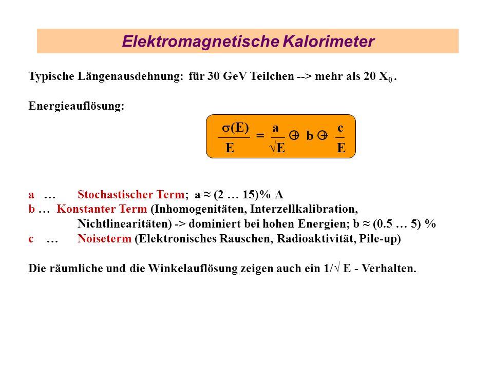 Elektromagnetische Kalorimeter Typische Längenausdehnung: für 30 GeV Teilchen --> mehr als 20 X 0. Energieauflösung: a … Stochastischer Term; a (2 … 1