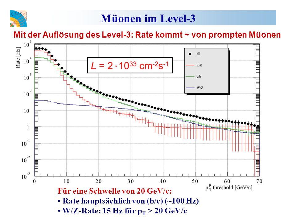 Müonen im Level-3 Für eine Schwelle von 20 GeV/c: Rate hauptsächlich von (b/c) (~100 Hz) W/Z-Rate: 15 Hz für p T > 20 GeV/c Mit der Auflösung des Level-3: Rate kommt ~ von prompten Müonen