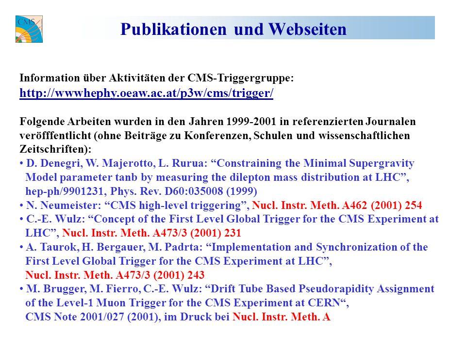 Publikationen und Webseiten Information über Aktivitäten der CMS-Triggergruppe: http://wwwhephy.oeaw.ac.at/p3w/cms/trigger/ Folgende Arbeiten wurden in den Jahren 1999-2001 in referenzierten Journalen veröfffentlicht (ohne Beiträge zu Konferenzen, Schulen und wissenschaftlichen Zeitschriften): D.
