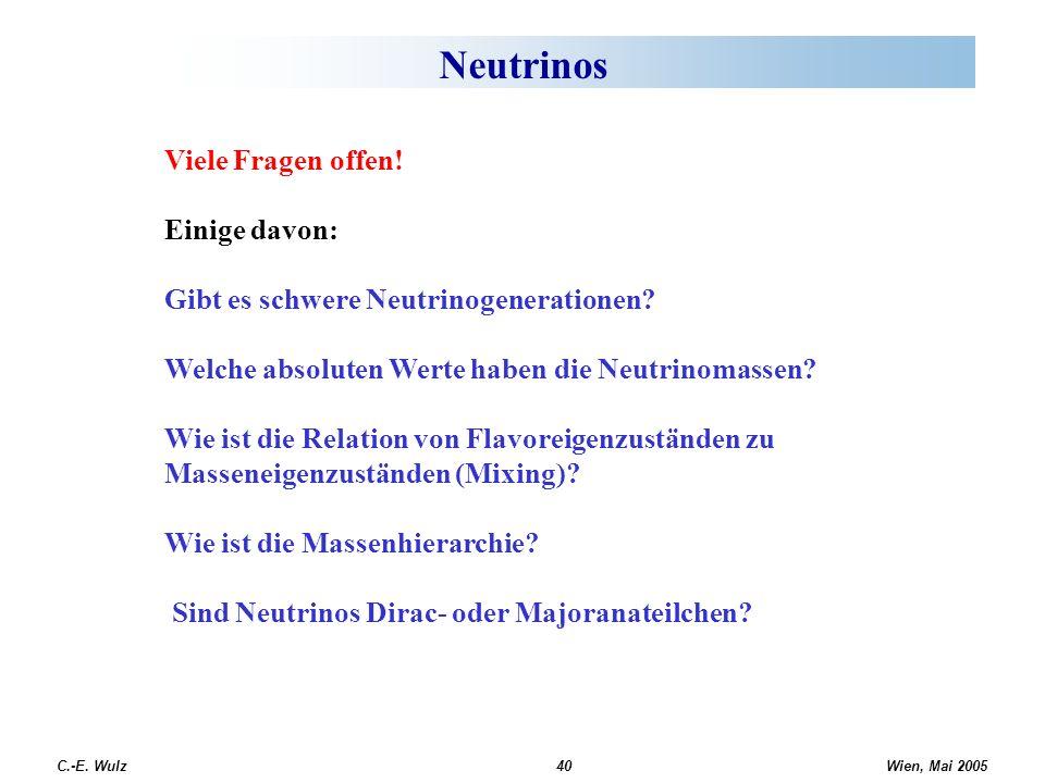 Wien, Mai 2005 C.-E. Wulz40 Neutrinos Viele Fragen offen! Einige davon: Gibt es schwere Neutrinogenerationen? Welche absoluten Werte haben die Neutrin