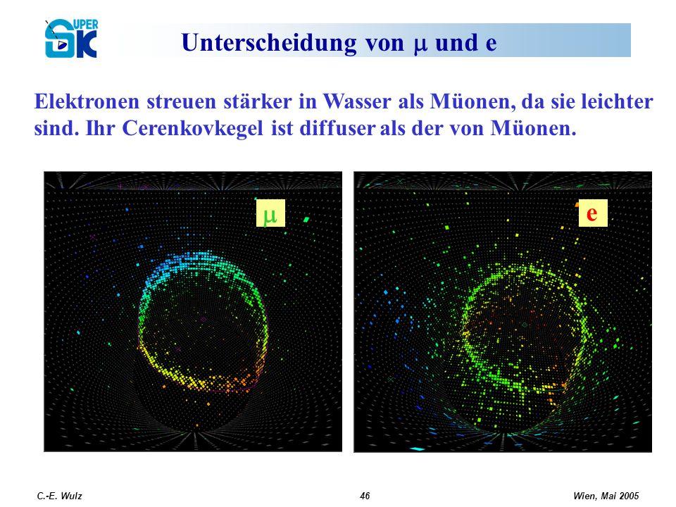 Wien, Mai 2005 C.-E. Wulz46 Unterscheidung von und e Elektronen streuen stärker in Wasser als Müonen, da sie leichter sind. Ihr Cerenkovkegel ist diff