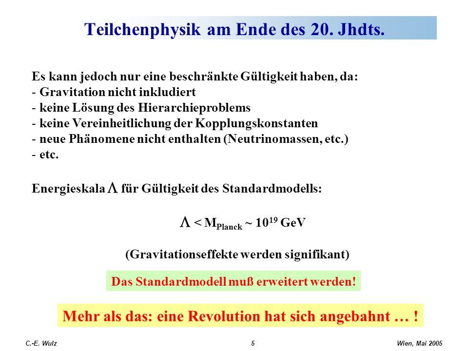 Wien, Mai 2005 C.-E. Wulz5 Teilchenphysik am Ende des 20. Jhdts. Es kann jedoch nur eine beschränkte Gültigkeit haben, da: - Gravitation nicht inkludi