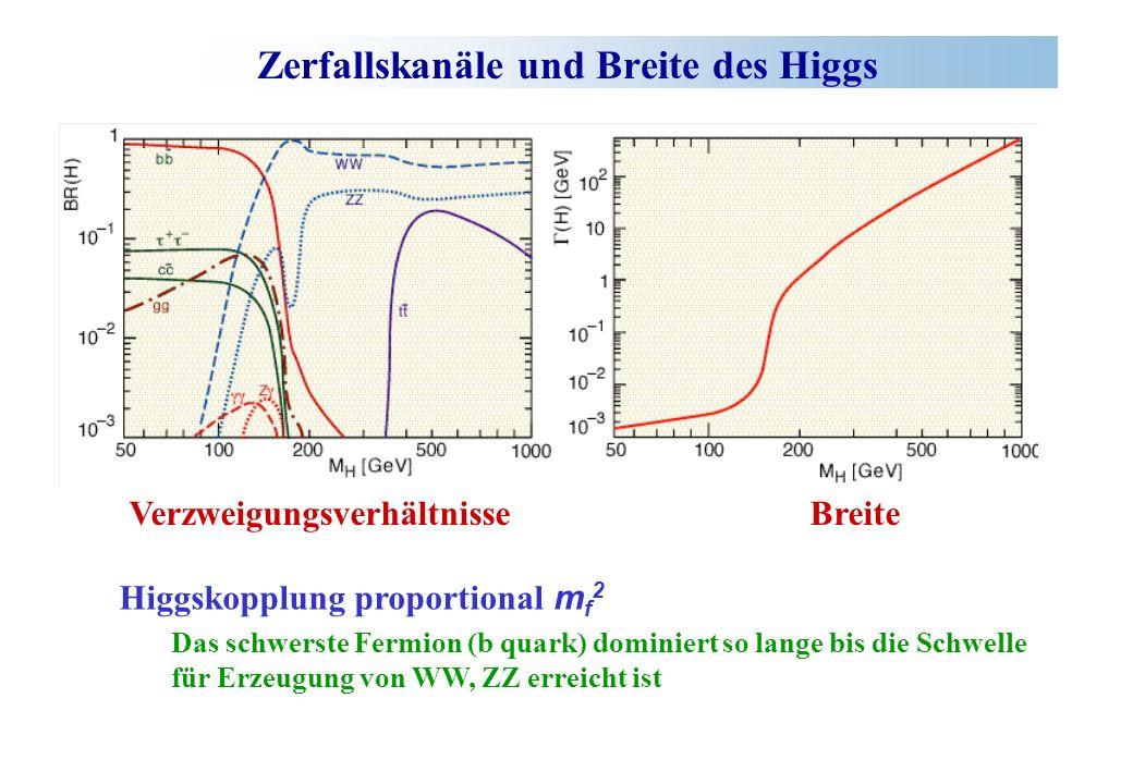 Zerfallskanäle und Breite des Higgs Verzweigungsverhältnisse Breite Higgskopplung proportional m f 2 Das schwerste Fermion (b quark) dominiert so lange bis die Schwelle für Erzeugung von WW, ZZ erreicht ist