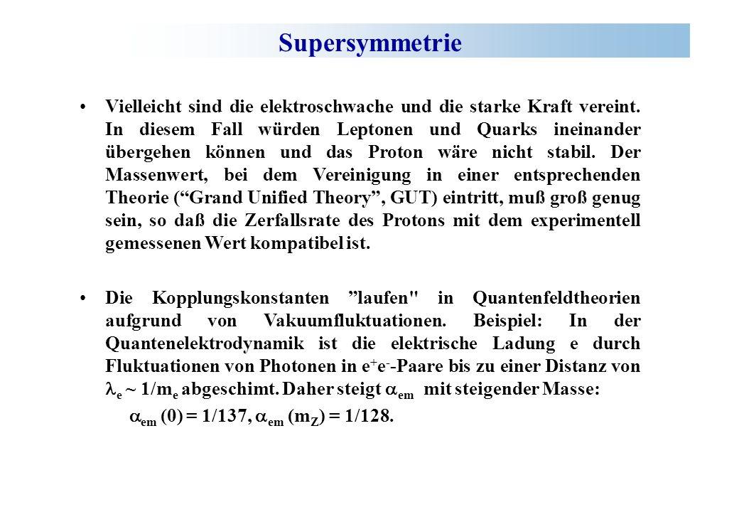Supersymmetrie Vielleicht sind die elektroschwache und die starke Kraft vereint.