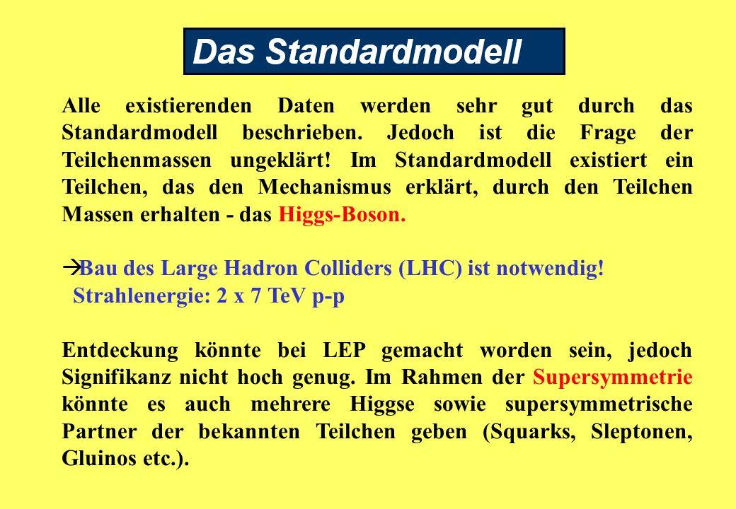 Alle existierenden Daten werden sehr gut durch das Standardmodell beschrieben.