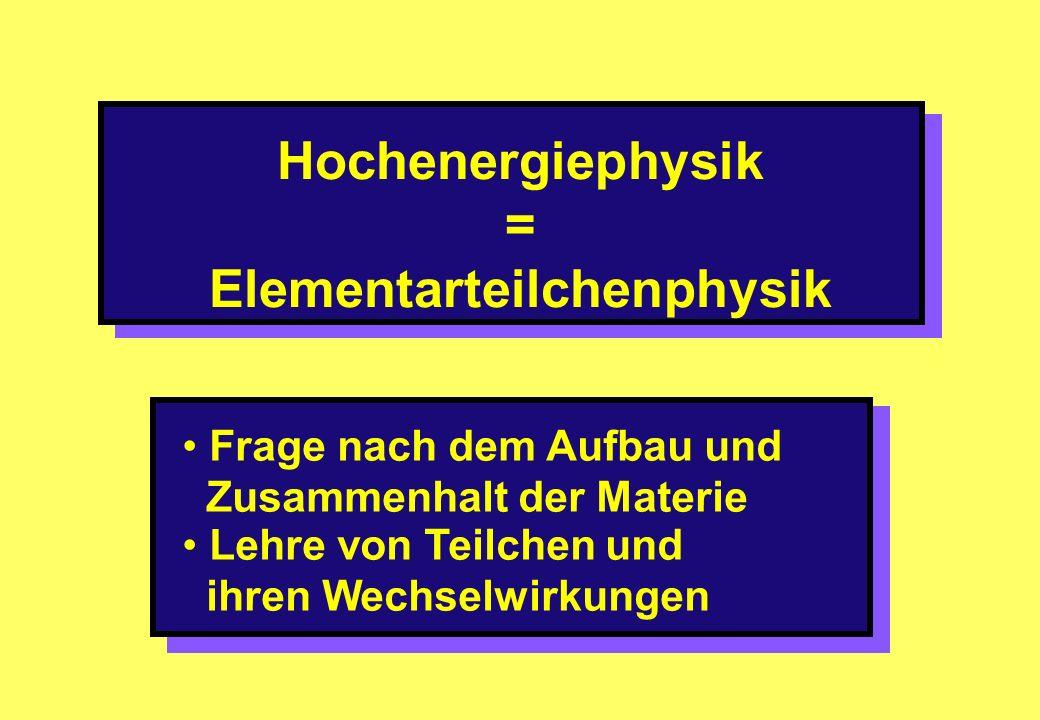 Hochenergiephysik = Elementarteilchenphysik Frage nach dem Aufbau und Zusammenhalt der Materie Lehre von Teilchen und ihren Wechselwirkungen