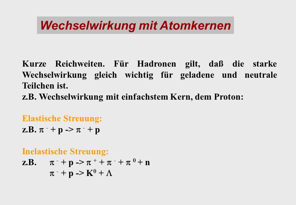 Wechselwirkung mit Atomkernen Kurze Reichweiten.