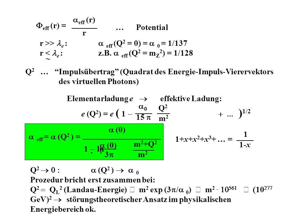 eff (r) = eff (r) ______ r … Potential r >> e : eff (Q 2 = 0) = 0 = 1/137 r < e : z.B.