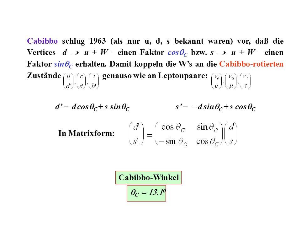 Cabibbo schlug 1963 (als nur u, d, s bekannt waren) vor, daß die Vertices d u + W einen Faktor cos C bzw. s u + W einen Faktor sin C erhalten. Damit k