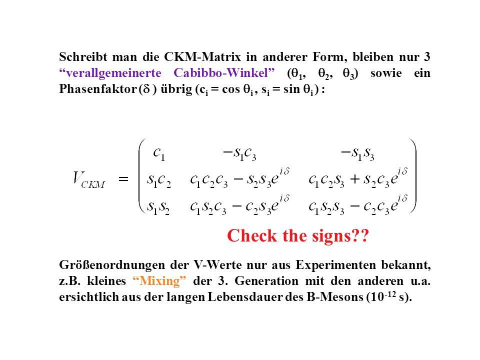 Schreibt man die CKM-Matrix in anderer Form, bleiben nur 3 verallgemeinerte Cabibbo-Winkel ( 1, 2, 3 ) sowie ein Phasenfaktor ( ) übrig (c i = cos i,