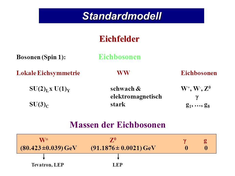 Elektromagnetische WechselwirkungEichinvarianz Dirac-Lagrangedichte L : L = i - m … Feldspinor = ( ) = ( ) Globale Eichtransformation: = e i = e - i … reelle Zahl Lokale Eichtransformation: = e i (x) = e - i (x) x … 4-Vektor … Spin 1/2 L ist invariant unter globalen Eichtransformationen.