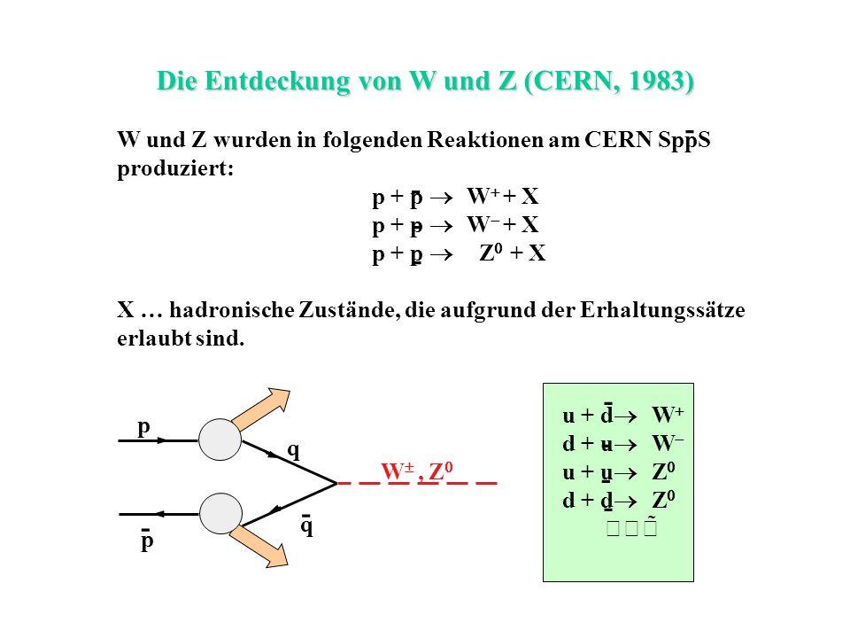 Die Entdeckung von W und Z (CERN, 1983) - W und Z wurden in folgenden Reaktionen am CERN SppS produziert: p + p W + X p + p Z + X X … hadronische Zust