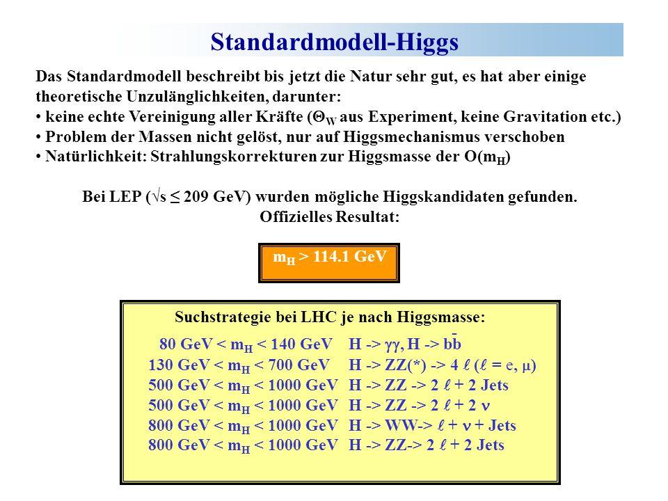 Standardmodell-Higgs Das Standardmodell beschreibt bis jetzt die Natur sehr gut, es hat aber einige theoretische Unzulänglichkeiten, darunter: keine echte Vereinigung aller Kräfte ( W aus Experiment, keine Gravitation etc.) Problem der Massen nicht gelöst, nur auf Higgsmechanismus verschoben Natürlichkeit: Strahlungskorrekturen zur Higgsmasse der O(m H ) Bei LEP (s 209 GeV) wurden mögliche Higgskandidaten gefunden.