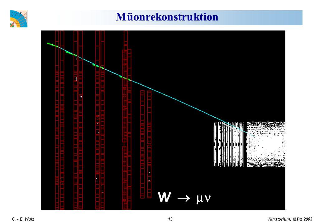 Kuratorium, März 2003 C. - E. Wulz13 Müonrekonstruktion W