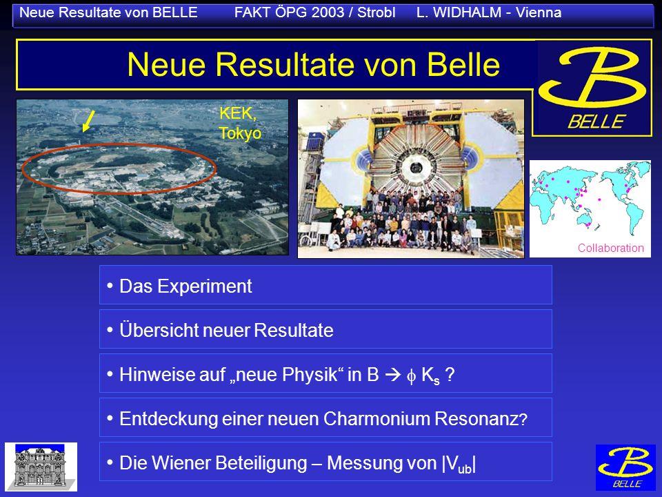 Neue Resultate von BELLE FAKT ÖPG 2003 / Strobl L. WIDHALM - Vienna KEK, Tokyo Neue Resultate von Belle Das Experiment Übersicht neuer Resultate Hinwe