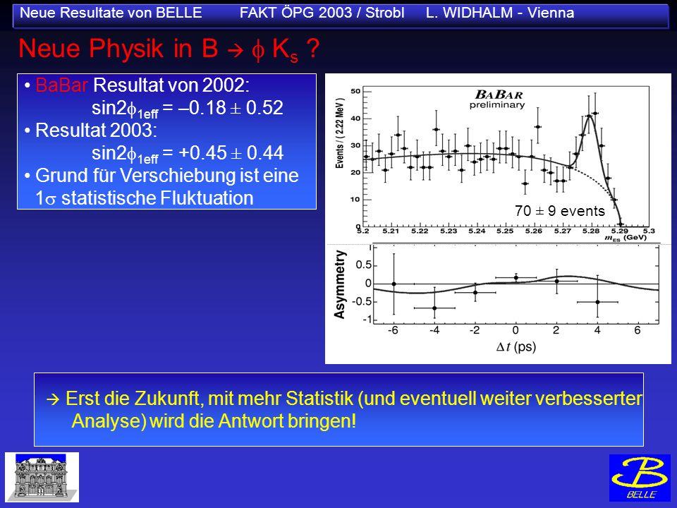 Neue Resultate von BELLE FAKT ÖPG 2003 / Strobl L. WIDHALM - Vienna Neue Physik in B K s ? sin2 1 (NEW World Av.) =0.736±0.049 Erst die Zukunft, mit m