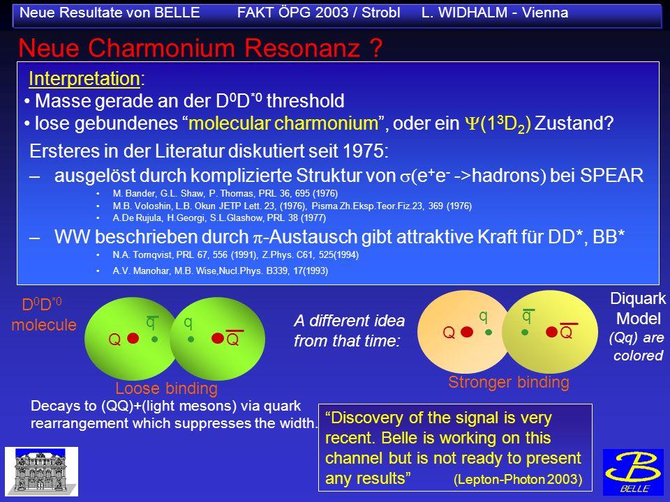 Neue Resultate von BELLE FAKT ÖPG 2003 / Strobl L. WIDHALM - Vienna Neue Charmonium Resonanz ? sin2 1 (NEW World Av.) =0.736±0.049 Interpretation: Mas