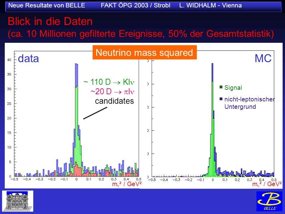 Neue Resultate von BELLE FAKT ÖPG 2003 / Strobl L. WIDHALM - Vienna MC m ² / GeV² Signal nicht-leptonischer Untergrund Blick in die Daten (ca. 10 Mill