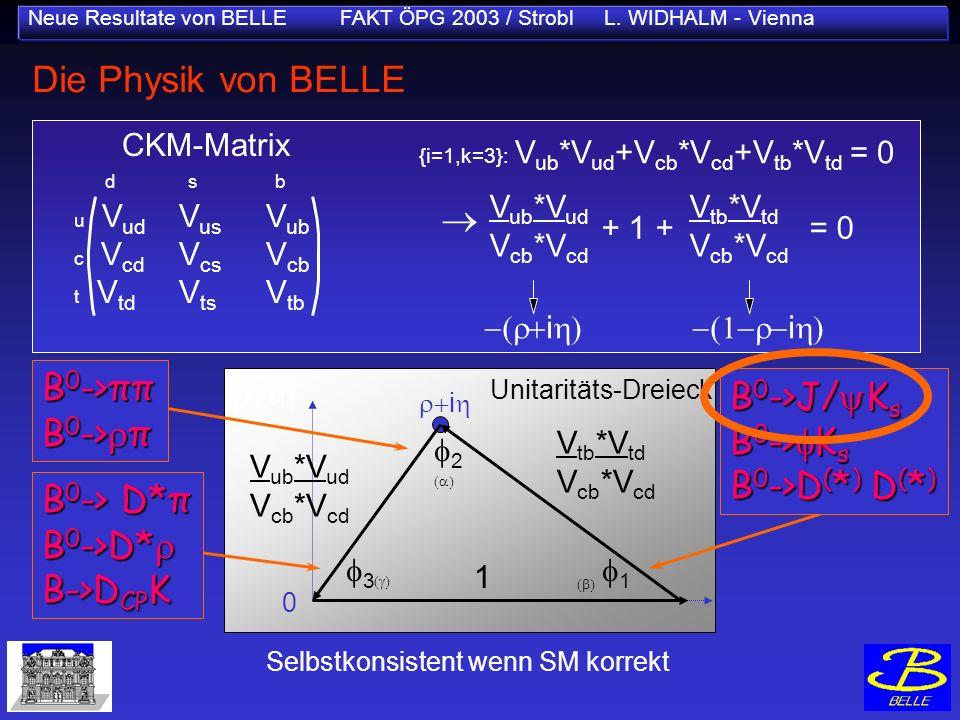 Neue Resultate von BELLE FAKT ÖPG 2003 / Strobl L. WIDHALM - Vienna Die Physik von BELLE Selbstkonsistent wenn SM korrekt V tb *V td V cb *V cd Unitar