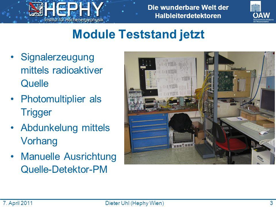 Die wunderbare Welt der Halbleiterdetektoren Module Teststand jetzt Signalerzeugung mittels radioaktiver Quelle Photomultiplier als Trigger Abdunkelung mittels Vorhang Manuelle Ausrichtung Quelle-Detektor-PM 3Dieter Uhl (Hephy Wien)7.