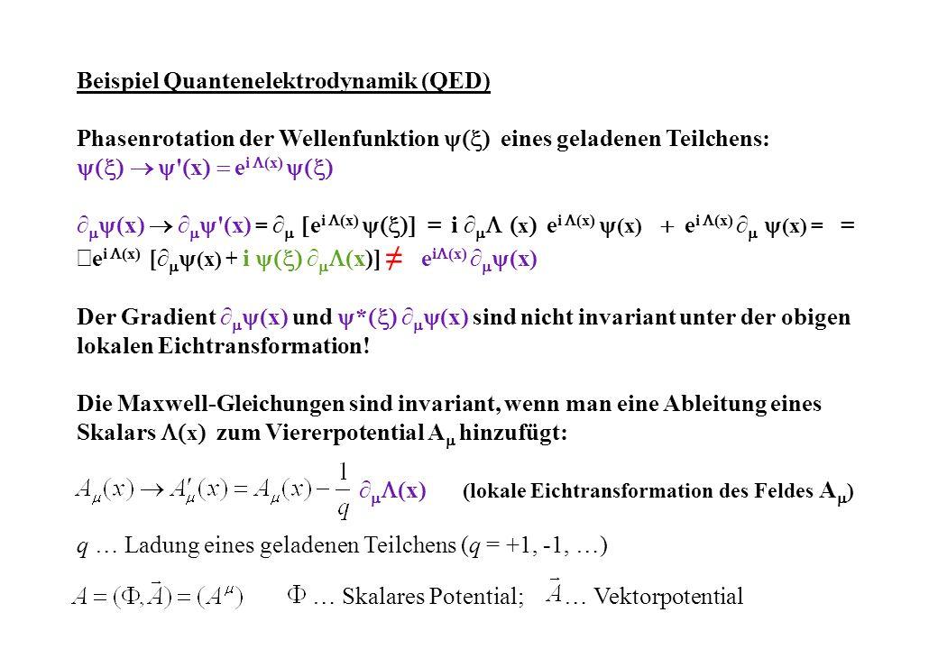 Beispiel Quantenelektrodynamik (QED) Phasenrotation der Wellenfunktion eines geladenen Teilchens: x e i (x) (x) (x) = e i (x) = i x e i (x) (x) e i (x) (x) = = e i (x) [ (x) + i (x)] e i (x) (x) Der Gradient (x) und * (x) sind nicht invariant unter der obigen lokalen Eichtransformation.