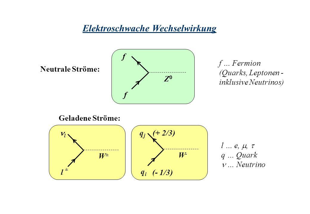 Elektroschwache Wechselwirkung Neutrale Ströme: f f Z Geladene Ströme: f … Fermion (Quarks, Leptonen - inklusive Neutrinos) l … e,, q … Quark … Neutrino l l W±W± ± qjqj qiqi W-W- (- 1/3) (+ 2/3)