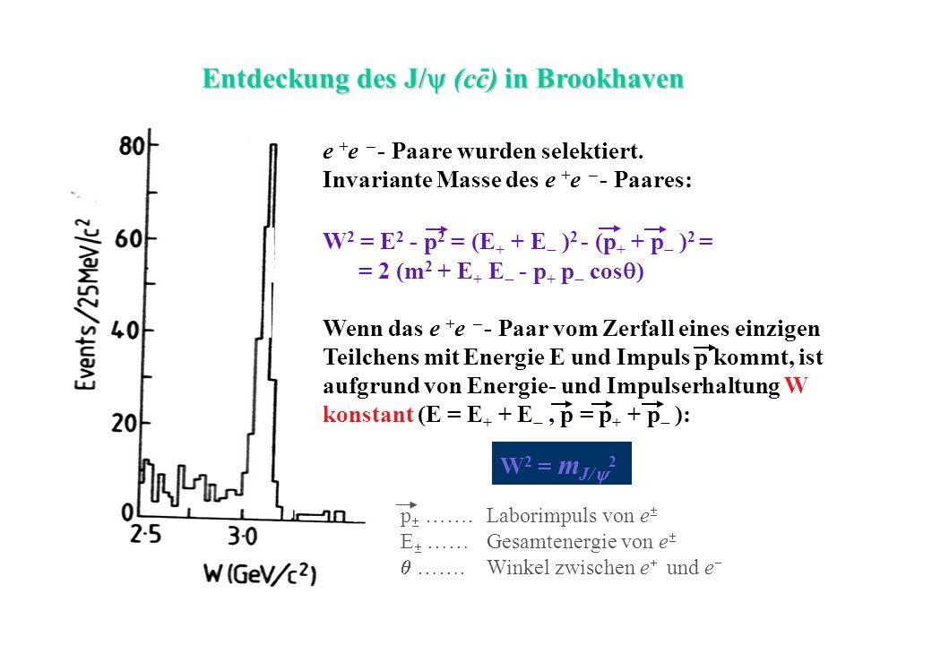 Entdeckung des J/ (cc) in Brookhaven - W 2 = m J/ 2 p …….Laborimpuls von e E ……Gesamtenergie von e …….Winkel zwischen e und e e + e - Paare wurden sel