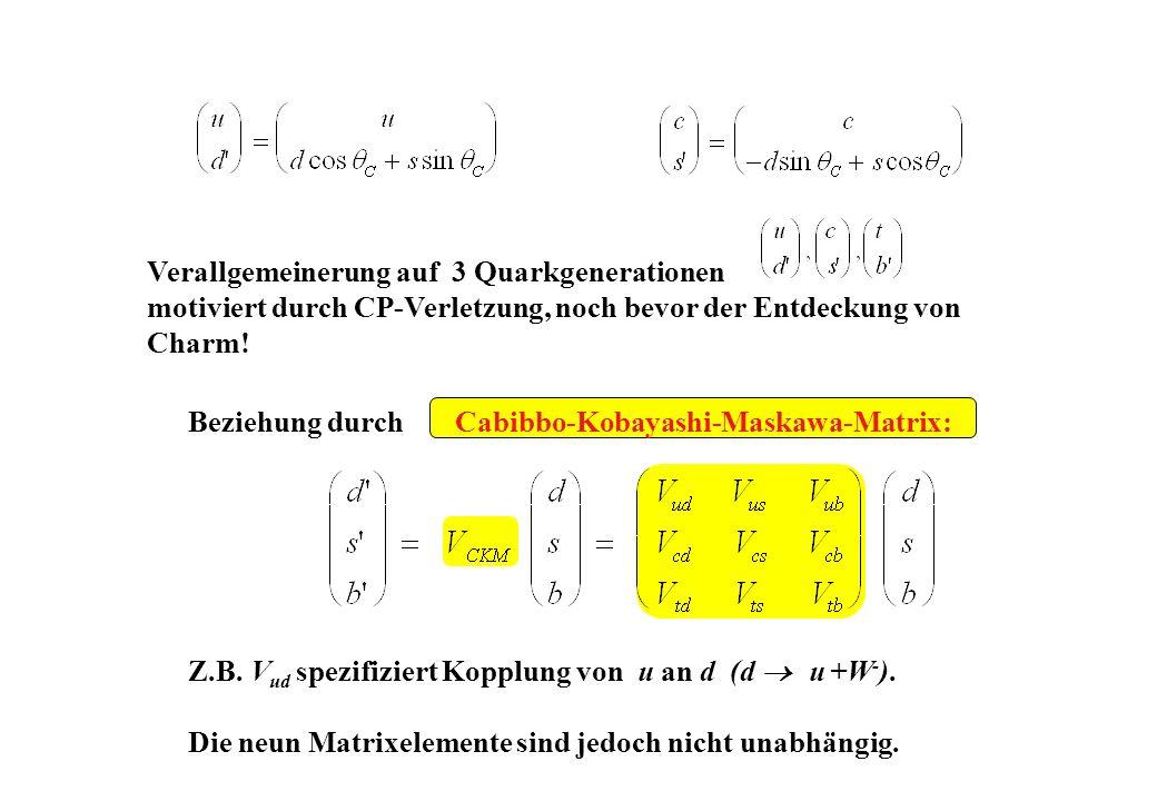 Beziehung durch Cabibbo-Kobayashi-Maskawa-Matrix: Z.B. V ud spezifiziert Kopplung von u an d (d u +W - ). Die neun Matrixelemente sind jedoch nicht un