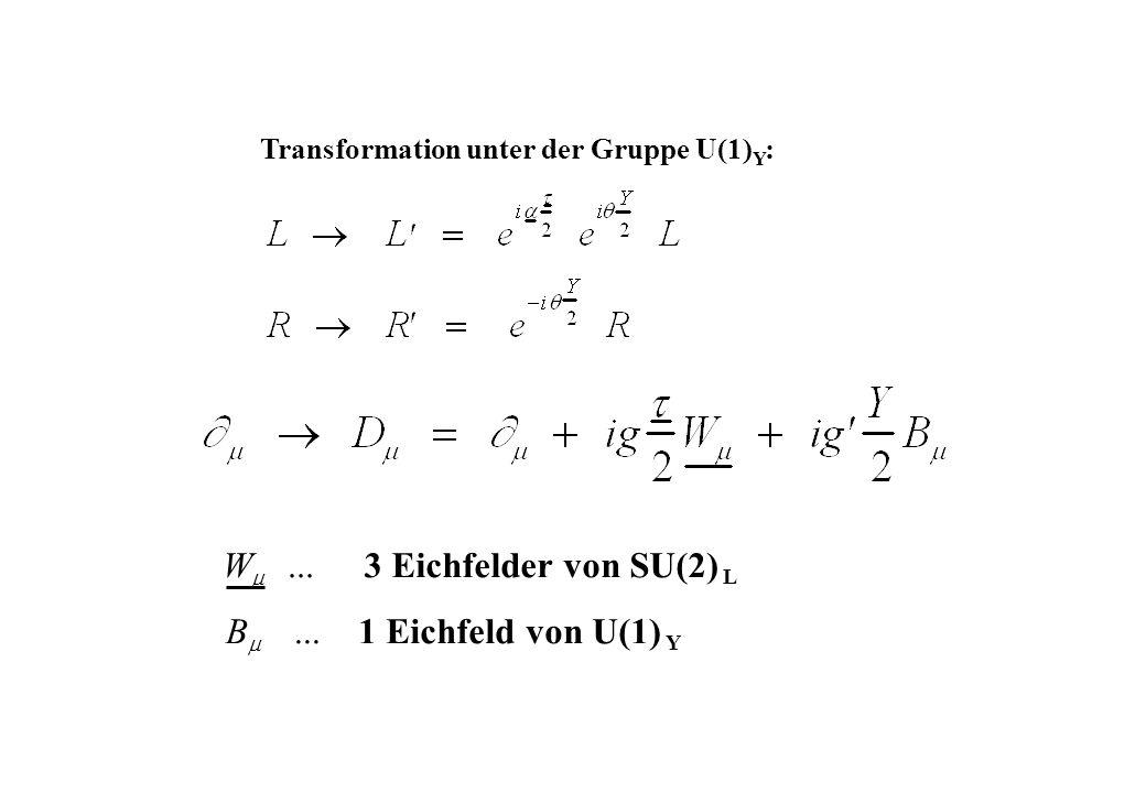 ... W 3 Eichfelder von SU(2) L B... 1 Eichfeld von U(1) Y Transformation unter der Gruppe U(1) Y :
