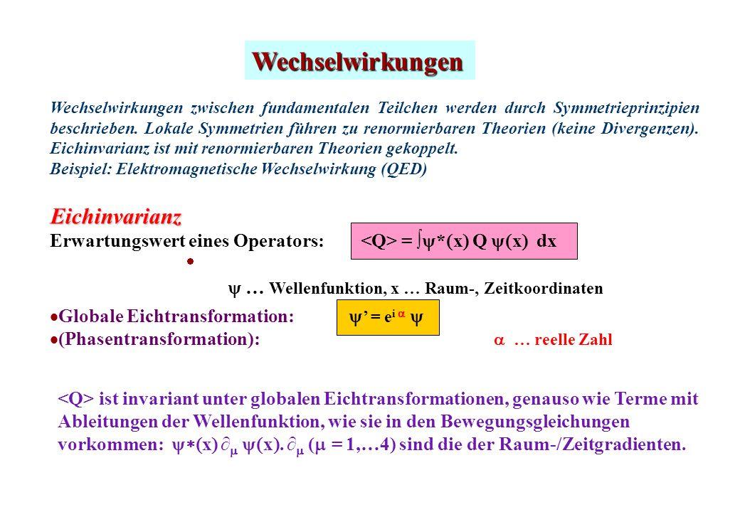 Wechselwirkungen … Wellenfunktion, x … Raum-, Zeitkoordinaten ist invariant unter globalen Eichtransformationen, genauso wie Terme mit Ableitungen der Wellenfunktion, wie sie in den Bewegungsgleichungen vorkommen: x x.