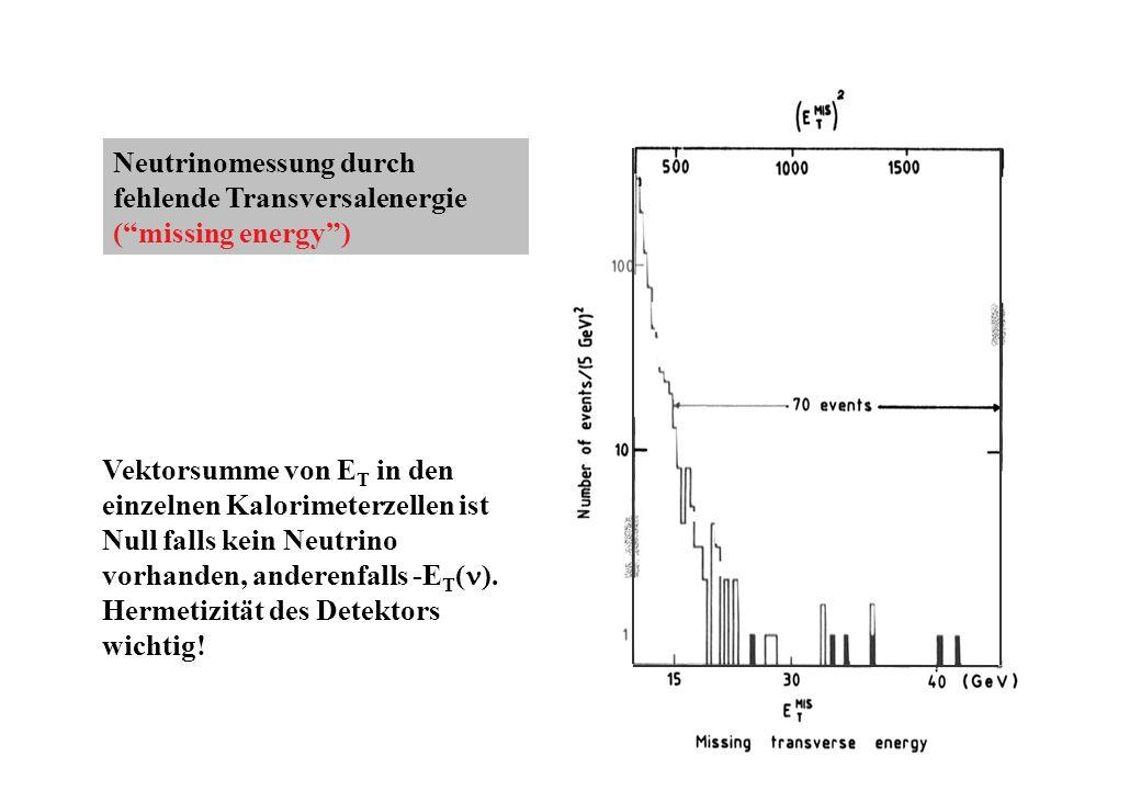 Neutrinomessung durch fehlende Transversalenergie (missing energy) Vektorsumme von E T in den einzelnen Kalorimeterzellen ist Null falls kein Neutrino