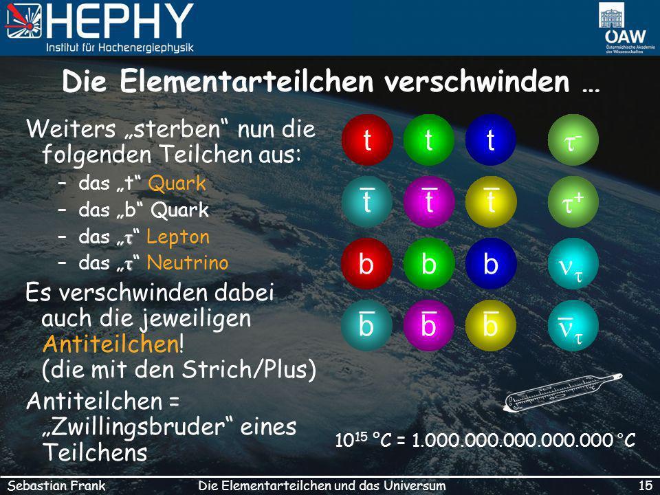15Die Elementarteilchen und das UniversumSebastian Frank Die Elementarteilchen verschwinden … Weiters sterben nun die folgenden Teilchen aus: –das t Quark –das b Quark τ –das τ Lepton τ –das τ Neutrino Es verschwinden dabei auch die jeweiligen Antiteilchen.
