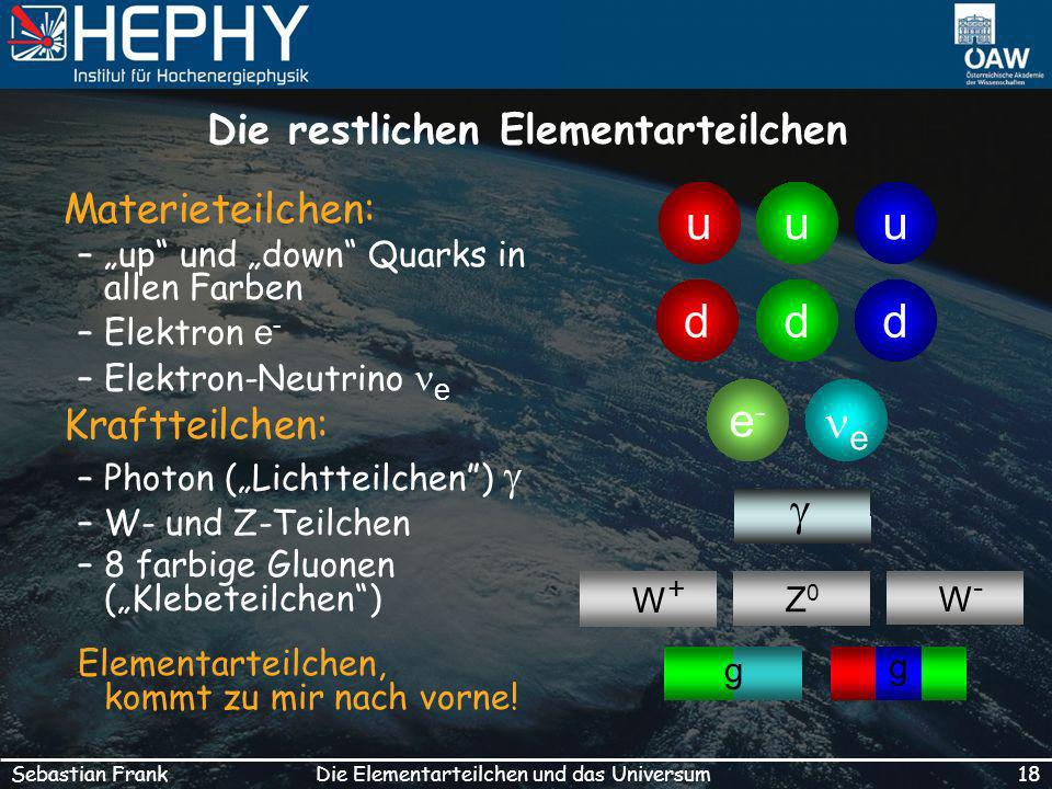 18Die Elementarteilchen und das UniversumSebastian Frank Die restlichen Elementarteilchen Materieteilchen: –up und down Quarks in allen Farben –Elektron e - –Elektron-Neutrino e Kraftteilchen: –Photon (Lichtteilchen) –W- und Z-Teilchen –8 farbige Gluonen (Klebeteilchen) Elementarteilchen, kommt zu mir nach vorne.
