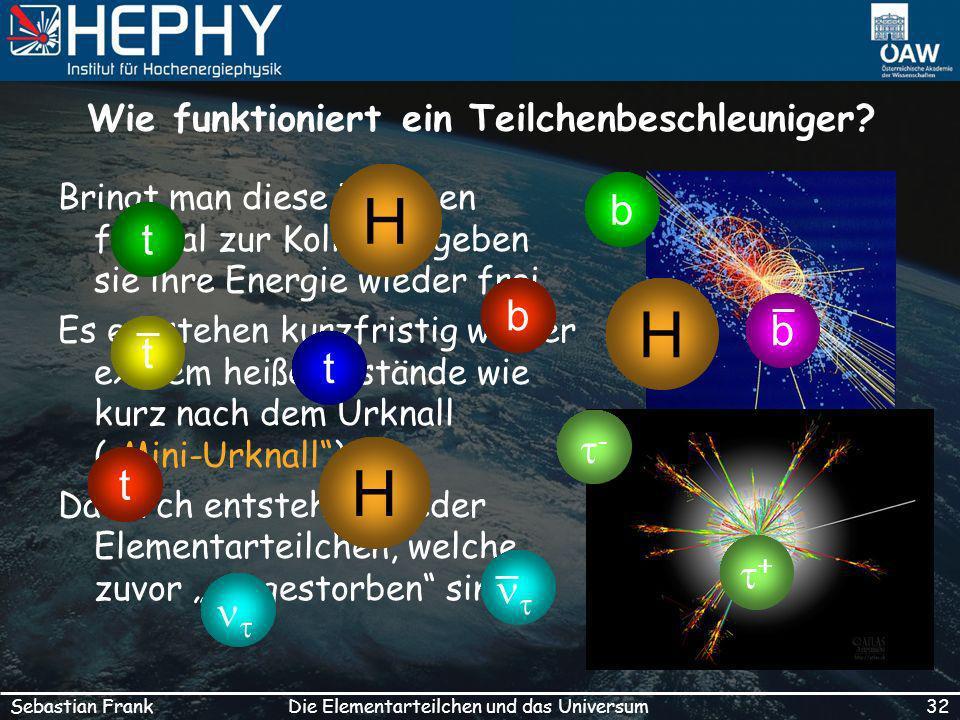 32Die Elementarteilchen und das UniversumSebastian Frank Wie funktioniert ein Teilchenbeschleuniger.