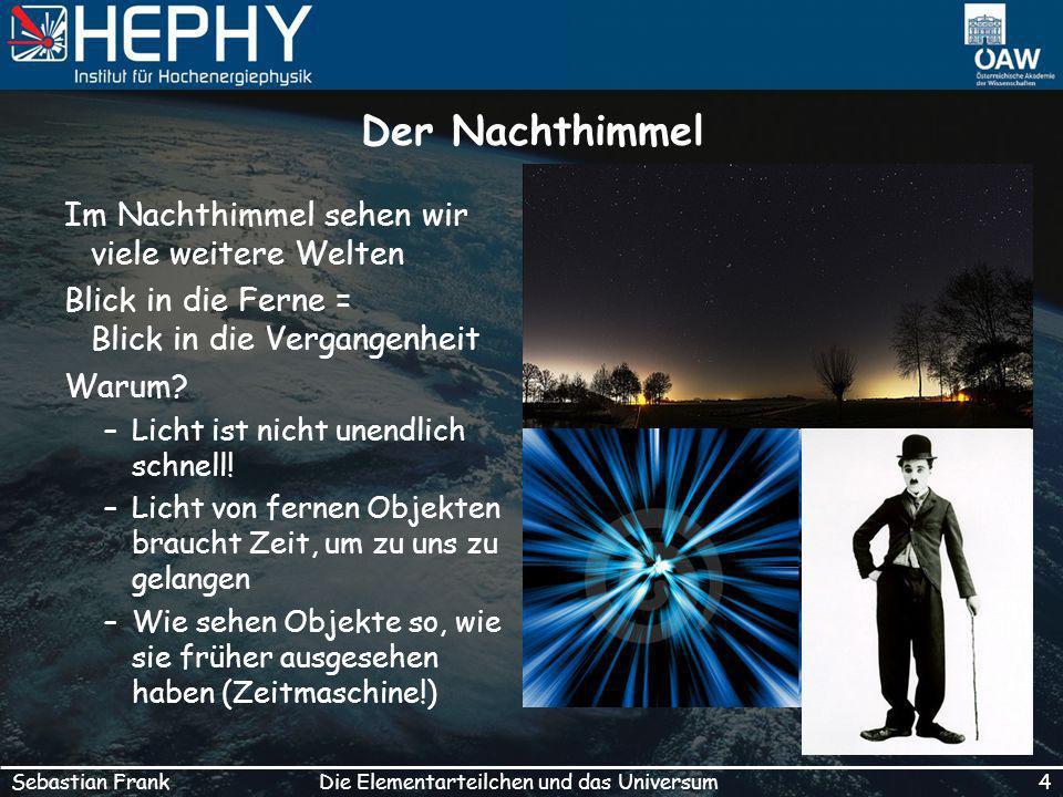 4Die Elementarteilchen und das UniversumSebastian Frank Der Nachthimmel Im Nachthimmel sehen wir viele weitere Welten Blick in die Ferne = Blick in die Vergangenheit Warum.