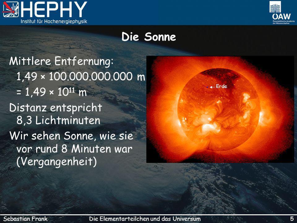 5Die Elementarteilchen und das UniversumSebastian Frank Die Sonne Mittlere Entfernung: 1,49 × 100.000.000.000 m = 1,49 × 10 11 m Distanz entspricht 8,3 Lichtminuten Wir sehen Sonne, wie sie vor rund 8 Minuten war (Vergangenheit) Erde