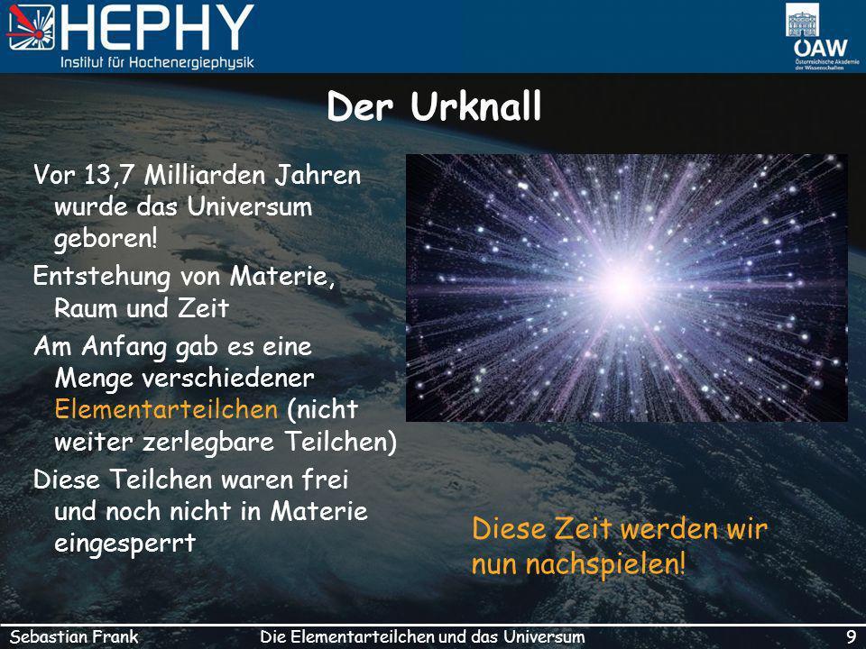 9Die Elementarteilchen und das UniversumSebastian Frank Der Urknall Vor 13,7 Milliarden Jahren wurde das Universum geboren.