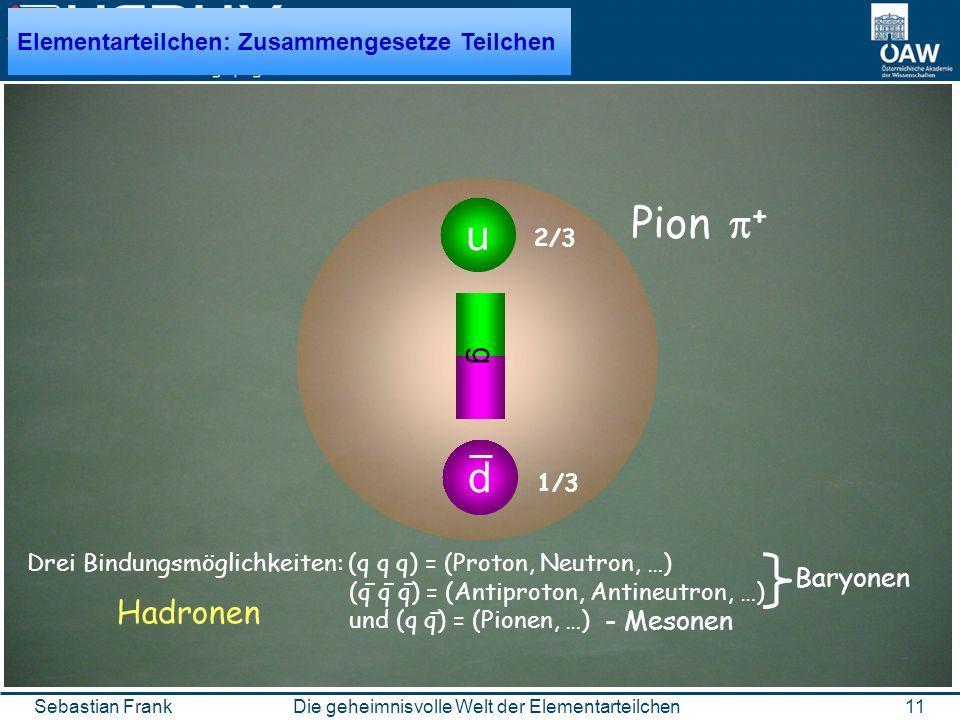 11Die geheimnisvolle Welt der ElementarteilchenSebastian Frank u d ggg Pion + 1/3 2/3 Drei Bindungsmöglichkeiten: (q q q) = (Proton, Neutron, …) (q q q) = (Antiproton, Antineutron, …) und (q q) = (Pionen, …) - Mesonen Baryonen Hadronen Elementarteilchen: Zusammengesetze Teilchen