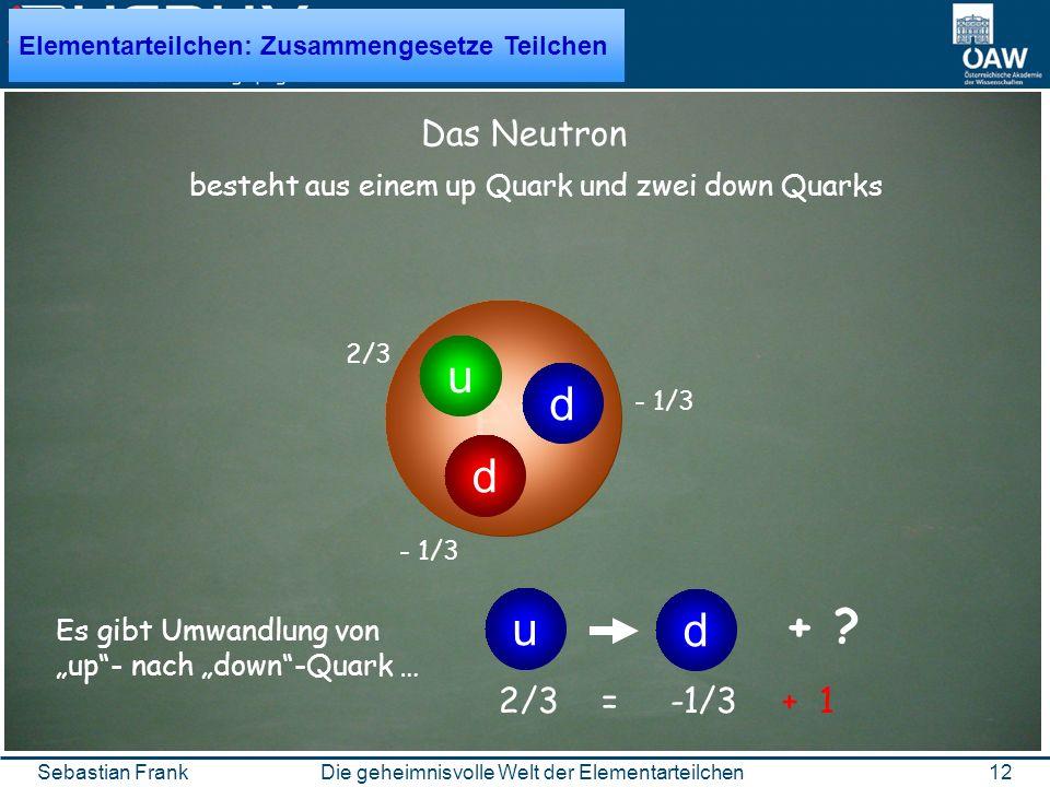 12Die geheimnisvolle Welt der ElementarteilchenSebastian Frank P+P+ besteht aus einem up Quark und zwei down Quarks d d u Das Neutron 2/3 - 1/3 2/3 = -1/3 + 1 Es gibt Umwandlung von up- nach down-Quark … d u + .